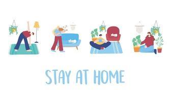reste à la maison ensemble d'activités vecteur