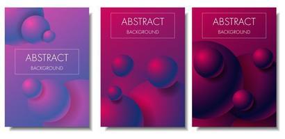 Jeu de cartes de sphères colorées dégradé 3d vecteur