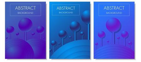 sphères 3d dégradé violet bleu sur ensemble de couverture de bâtons