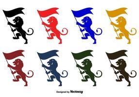 Silhouettes de vecteurs rampants de lion