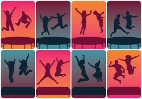 Silhouettes de trampoline en saut
