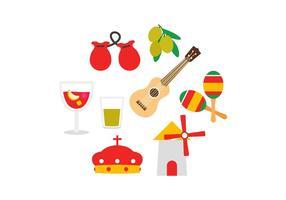 Ensemble d'icônes en Espagne gratuit vecteur