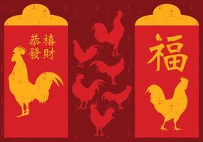 Paquet rouge de coq du Nouvel An Chinois