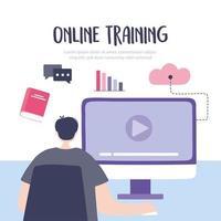 jeune homme suivant un cours en ligne sur l'ordinateur vecteur