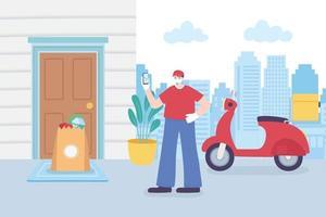 service de livraison en ligne avec coursier scooter vecteur