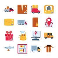 jeu d'icônes de marchandises de livraison et de transport