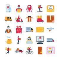 ensemble d & # 39; icônes de marchandises de livraison et de transport