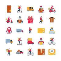 ensemble d & # 39; icônes de livraison avec des marchandises de transport
