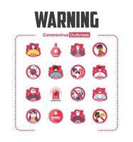 ensemble de mesures de sécurité pandémique, précautions, icônes de signes avant-coureurs