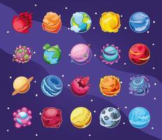 jeu d'icônes de planètes fantastiques vecteur