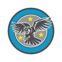 logo de combat de hibou vecteur