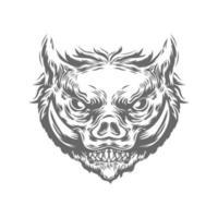 tête de sanglier dans le style de couleur noir et blanc vecteur