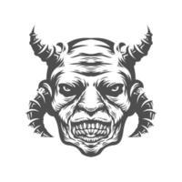 tête d'homme avec des cornes
