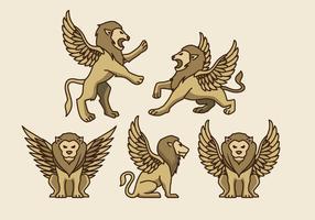 Vecteurs de lion aux ailes symboliques d'or vecteur