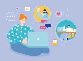 jeune femme, sur, plancher, à, ordinateur portable, sur, médias sociaux vecteur