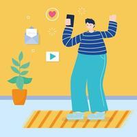 jeune homme, utilisation, smartphone, dans, a, pièce