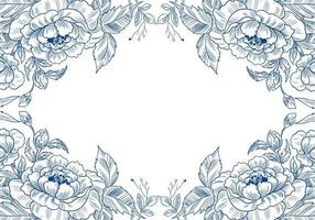 beau cadre floral de croquis décoratif vecteur