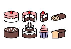 Ensemble d'icônes de gâteau gratuit vecteur