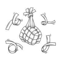 composition de ketupat traditionnelle dessinée au trait