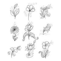 fleurs dessinées à la main dans le style sektch