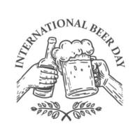 emblème de la journée internationale de la bière pour t-shirt ou affiche vecteur