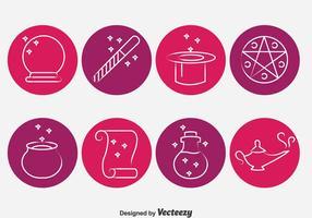 Vecteur d'icônes de cercle des outils magiques