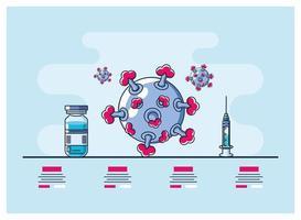 infographie avec icône virion de coronavirus