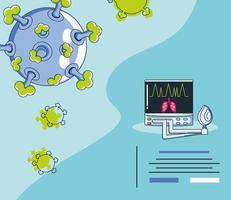 infographie avec un virion de coronavirus