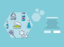 infographie avec icônes de laboratoire et recherche sur le coronavirus