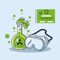 infographie avec tube à essai de laboratoire chimique et coronavirus