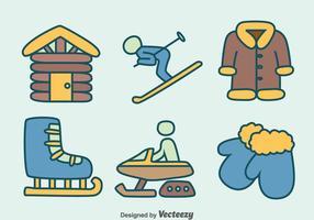 Vecteur d'icônes d'élément d'hiver dessiné à la main