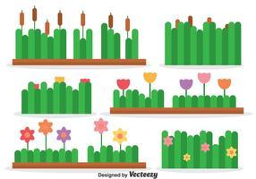 Vecteur de collection de roseaux et de fleurs