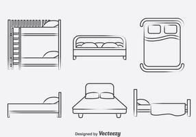 Vecteur d'icônes de collection de lits