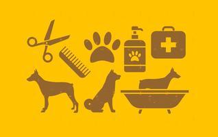 Ensemble d'icônes de chien de compagnie