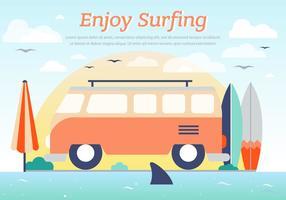 Hippie bus surfing vector background