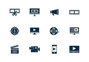 Icône d'édition de vidéo simple vecteur