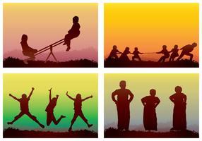 Enfants jouant de la silhouette vecteur