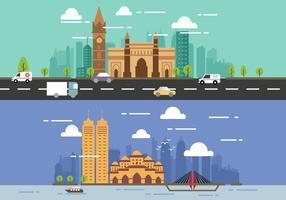 Concepts plats de la ville de Mumbai City vecteur