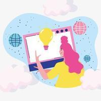 femme faisant un site Web vecteur