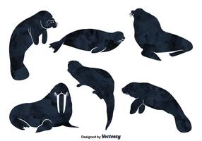 Silhouettes de vecteur animal de mer