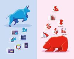 icônes du marché boursier avec taureau et ours vecteur