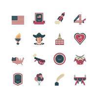 ensemble d'icônes de la fête de l'indépendance
