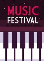affiche festival de musique avec clavier de piano vecteur