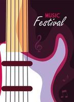 affiche festival de musique avec instrument de musique guitare électrique vecteur