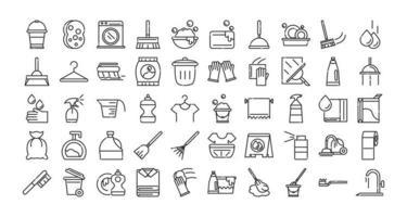 jeu d'icônes de services de nettoyage vecteur