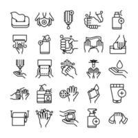 jeu d'icônes d'hygiène personnelle et de prévention des infections vecteur