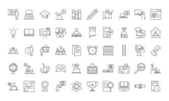 jeu d'icônes de style ligne école et éducation vecteur