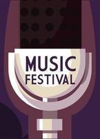 affiche festival de musique avec icône de microphone vecteur