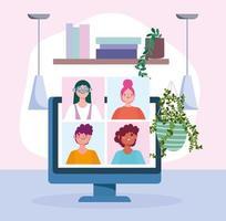 ordinateur avec des personnes sur une illustration vectorielle de réunion ou de conférence en ligne