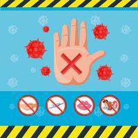 infographie avec la main avec des virus
